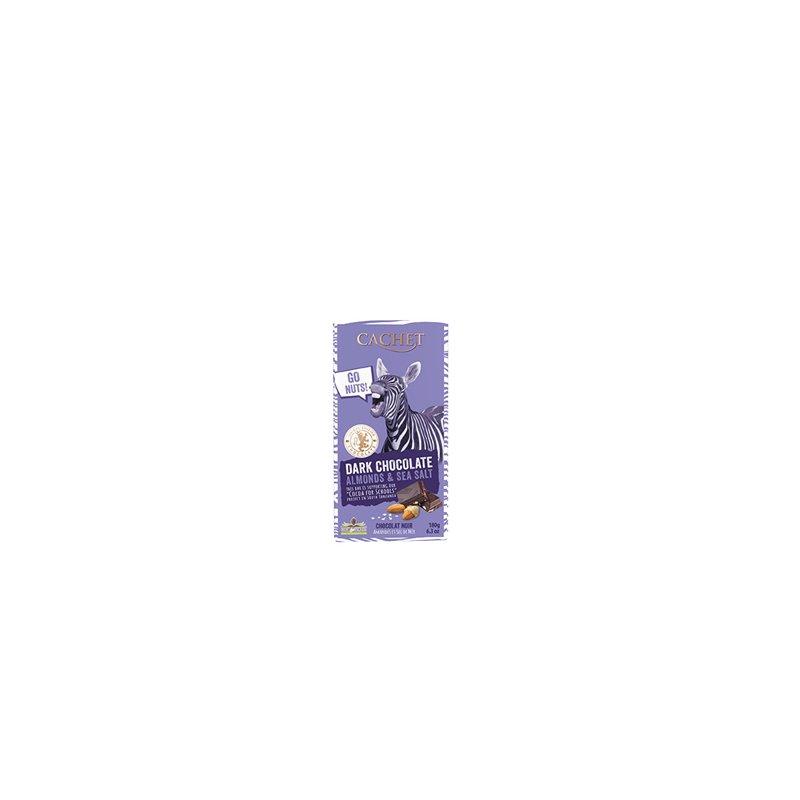 CHOCOLADE PUUR SAFARI 57% AMANDEL EN ZEEZOUT 180G
